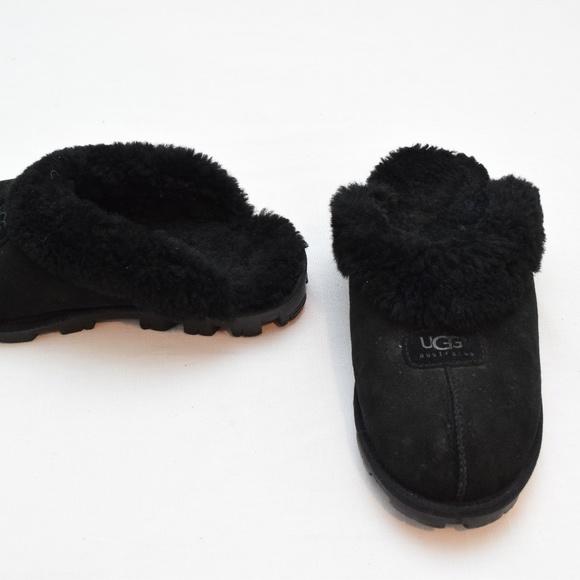 5e25c7e08eb Ugg Coquette Black Suede Slippers Womens 10